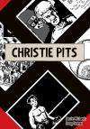 "The cover of a graphic novel titled ""Christie Pits"" showing small black-and-white drawings separated by a large swastika."