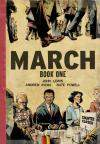 "The cover of a graphic novel titled ""March: Book One"" showing marching legs and feet and three Black people at a lunch counter behind a sign reading ""counter closed."""